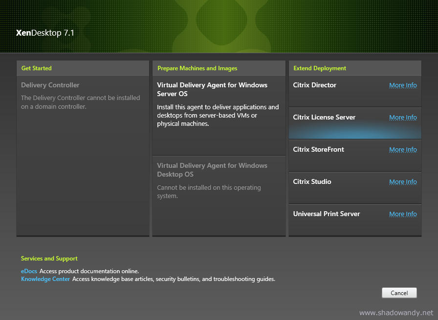 Select Citrix License Server from the Citrix XenDesktop 7.1 Installation Disc.