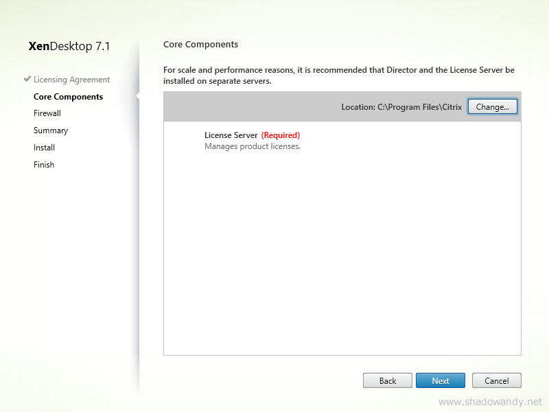 Ensure License Server component is listed. Click on the Next button.