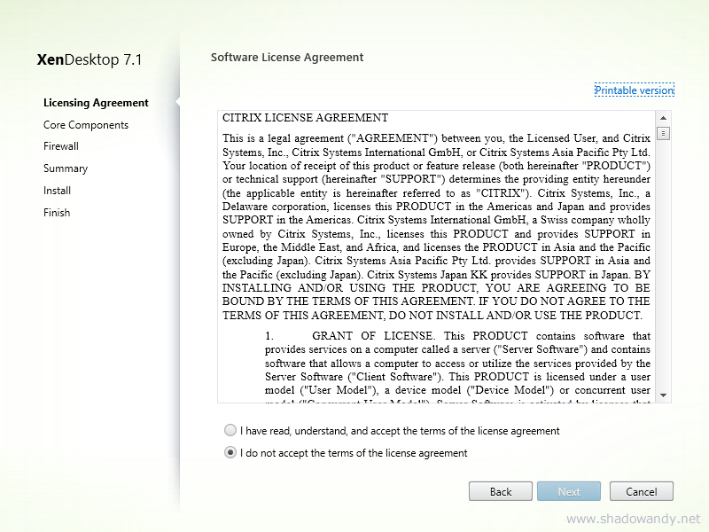 Accept the software license agreement and click on the Next button.