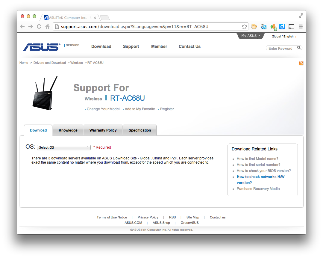 ASUS Support for Wireless RT-AC68U