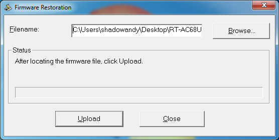 ASUS RT-AC68U Firmware Restoration Utility