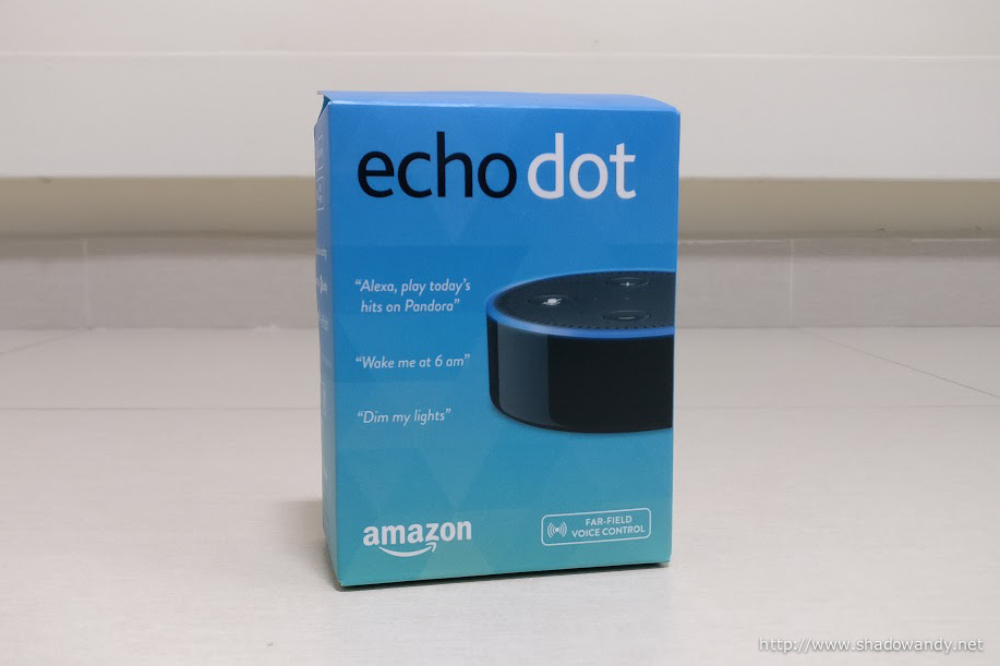 The packaging box (front) of Amazon Echo Dot