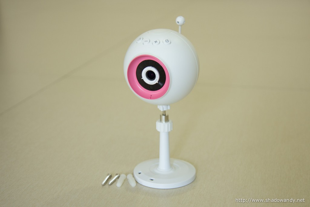 The WiFi Baby Camera on the wall mounting kit. The ball neck allows the camera to be easily tilted to face the area that you wish to monitor.