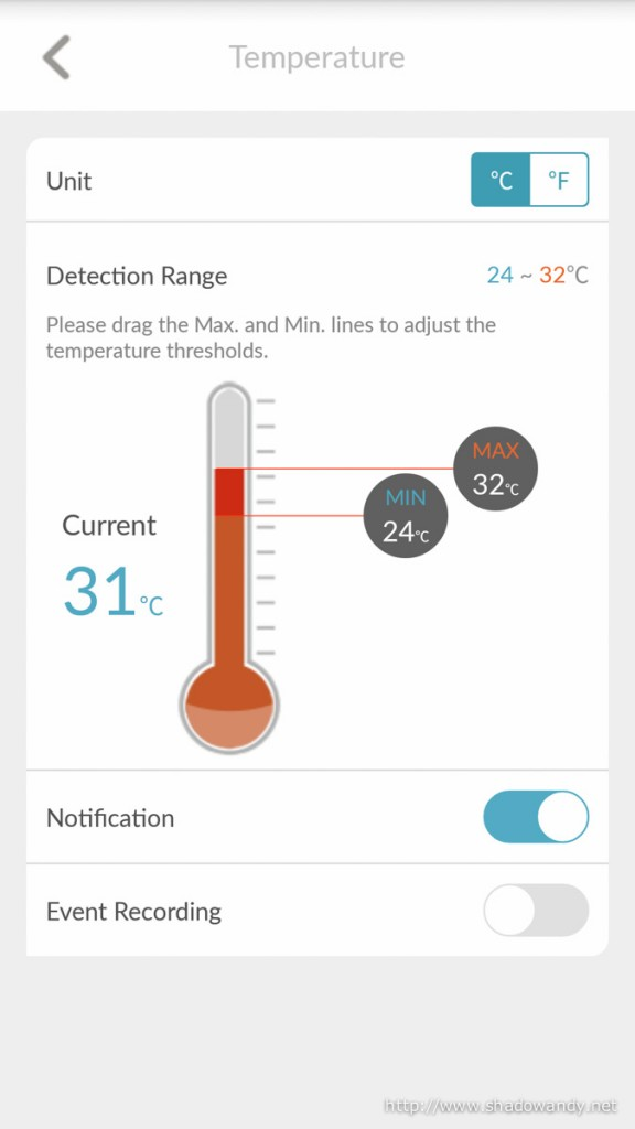 Setting the temperature threshold for the temperature alert. If it is out of the defined zone, the circle (on top of the WiFi Baby Camera) will turn red and an alert will be sent.