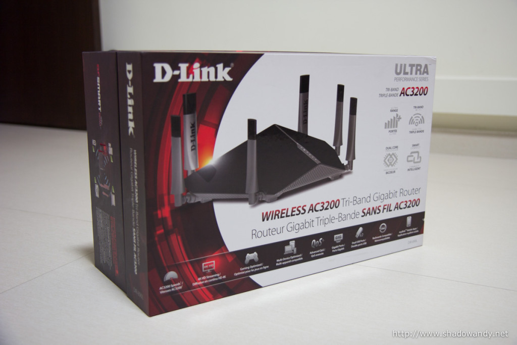 The packaging of the D-Link DIR-890L AC3200 wireless router is huge!