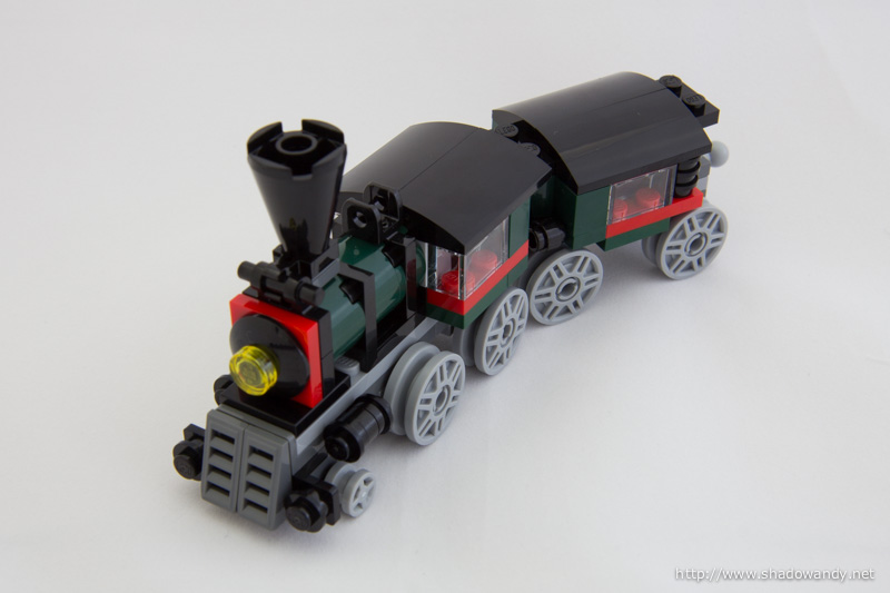 The Emerald Express is a 3-in-1 model. It rebuilds into a rocket train or a carriage.
