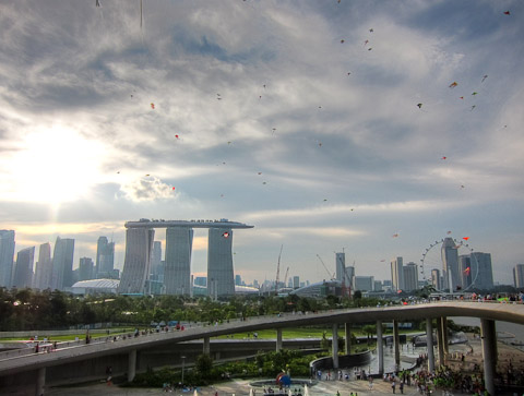 More kites pinned to the sky at Marina Barrage