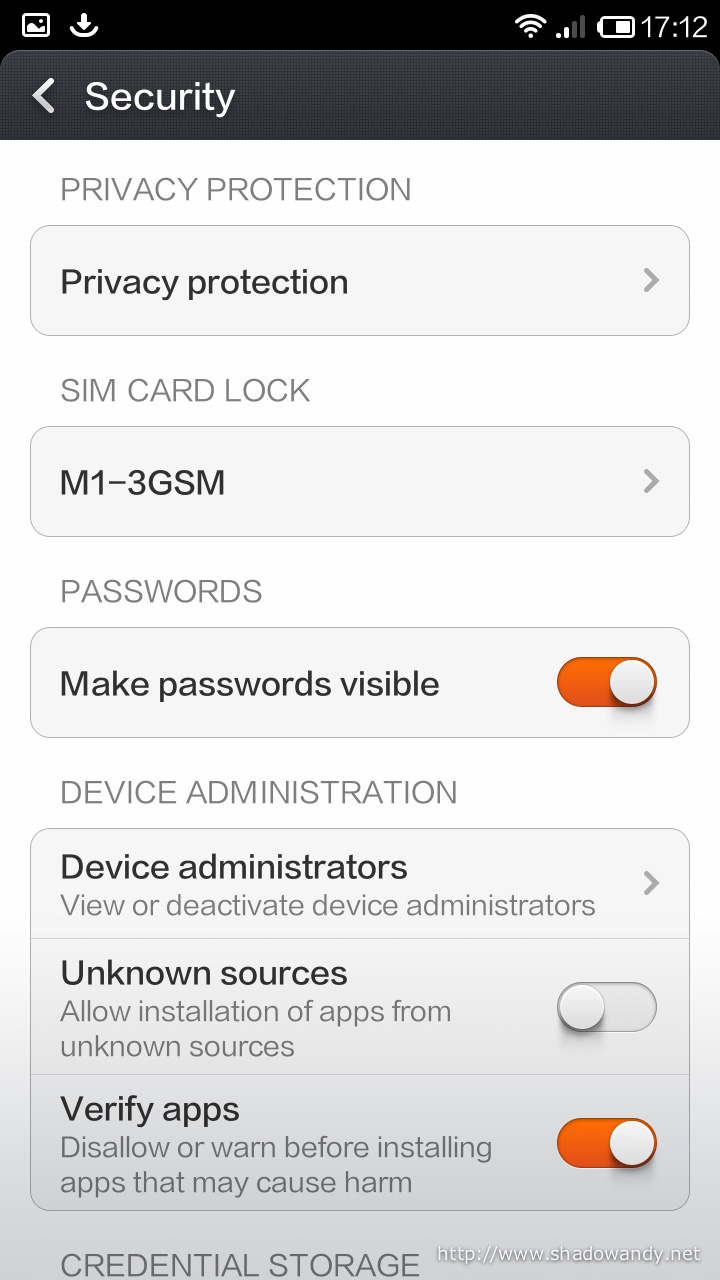 """Under Device Administration, enable """"Unknown sources"""" to allow installation of apps from unknown sources"""