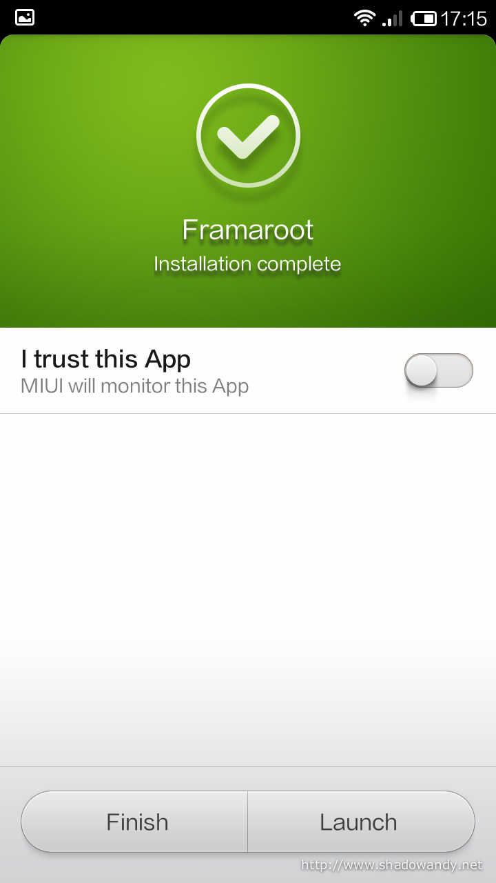 """Toggle the """"I trust this App"""""""