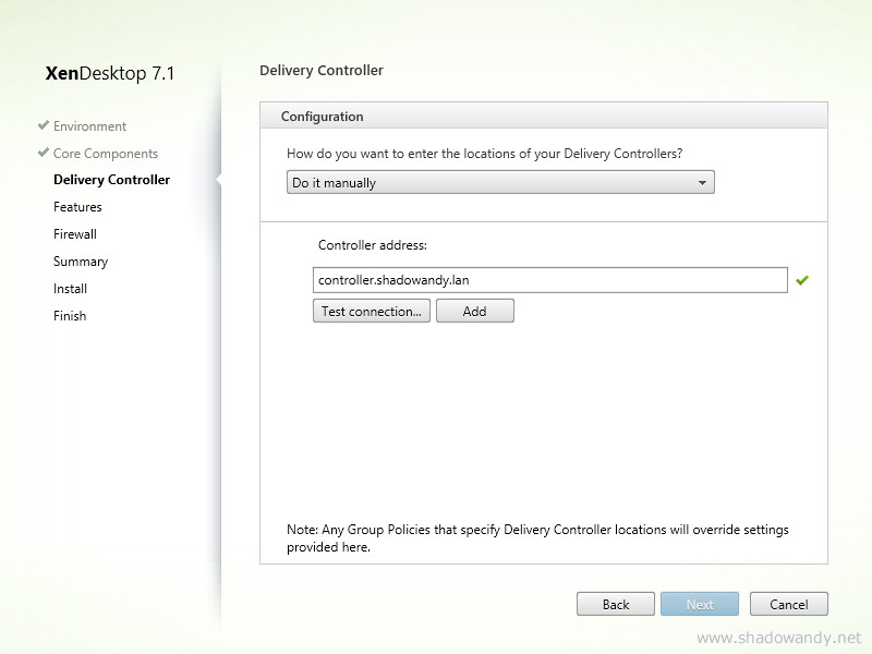 Fill in the XenDesktop Controller address and click on 'Test connection...'.