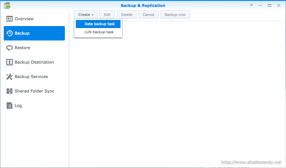 Within the Backup & Replication, create a new Data backup task.