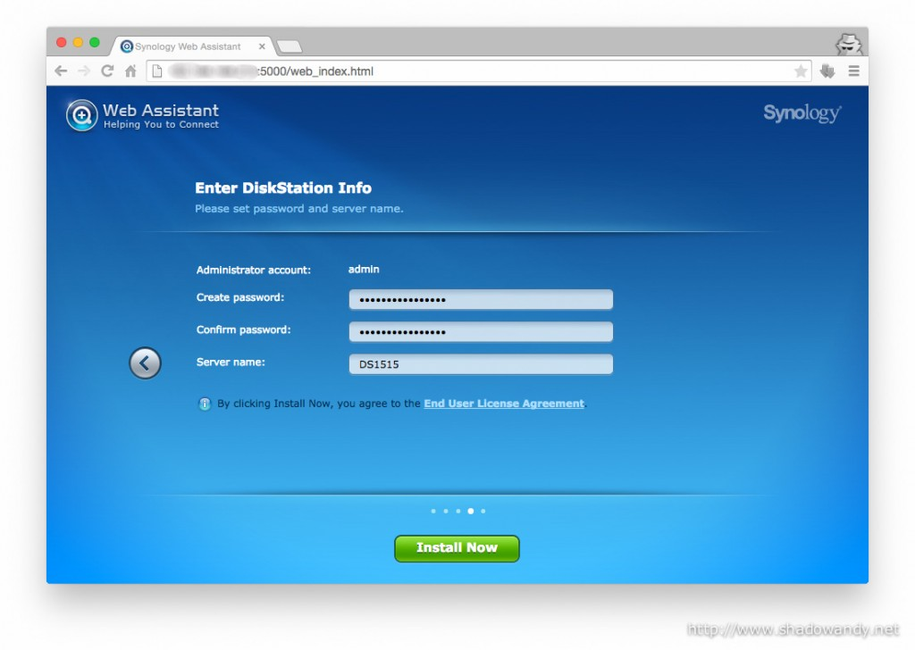 Entering the information for the DiskStation - admin password and server name.