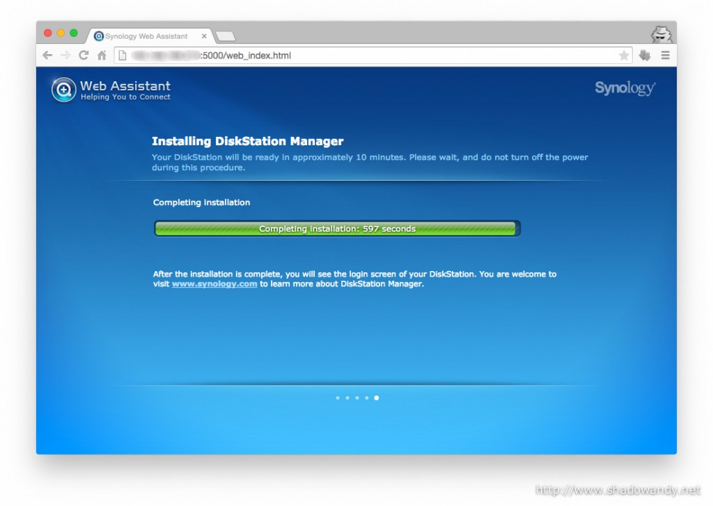 The DiskStation Manager is almost installed! It will reboot into the Web Console once it is done.