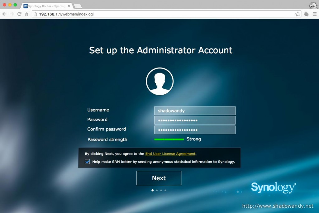 "Setting up the administrator account. You can choose username other than the usual ""admin"", ""administrator"" or ""root""."