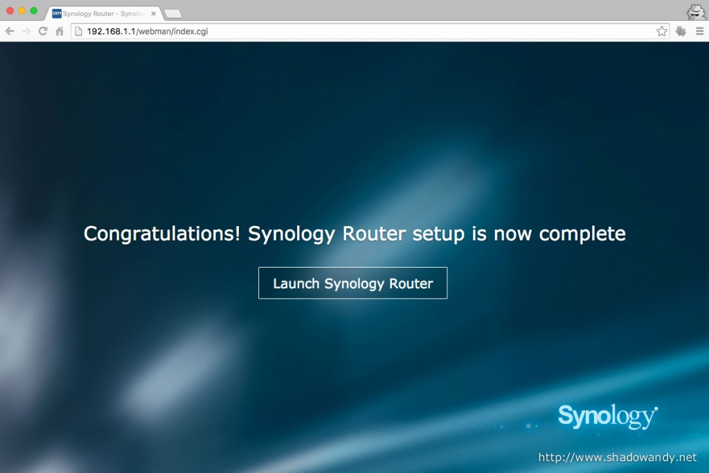 And that's it. You have successfully completed the initial set up for the Synology RT1900ac.