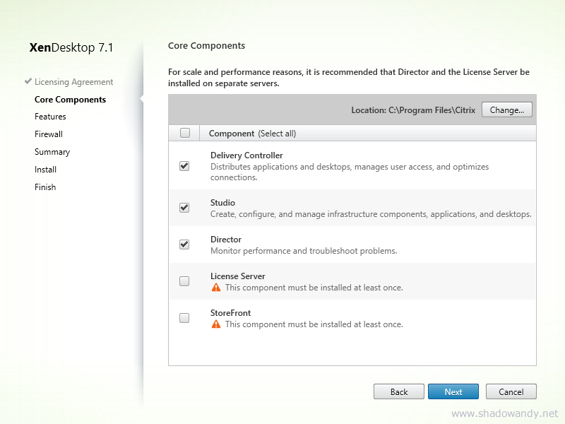 As I have installed the Citrix License Server and StoreFront on a separate server. I only selected the Delivery Controller, Studio and Director component for this installation. Click on the Next button to proceed.