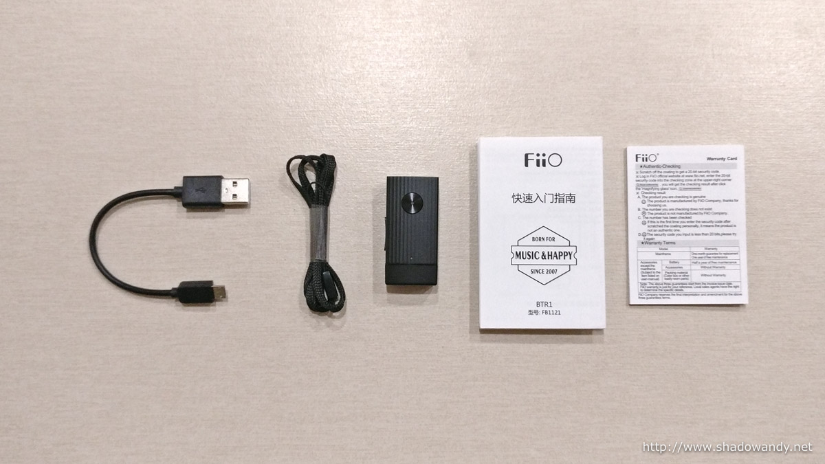 What you will find in your FiiO BTR1 package.